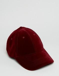 Вельветовая бордовая бейсболка ASOS - Красный