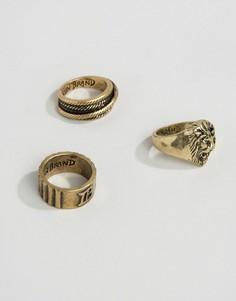 Набор из 3 золотистых колец Icon Brand - Золотой