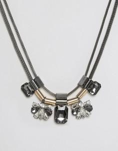 Броское ярусное ожерелье с камнями Nylon - Серебряный