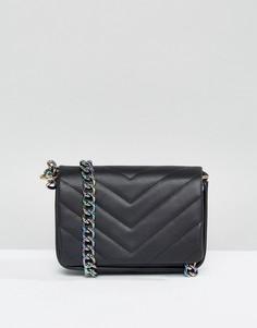 Стеганая сумка через плечо с радужной цепочкой ASOS - Черный