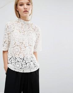 Samsoe & Samsoe Becks Short Sleeve Lace Top - Белый