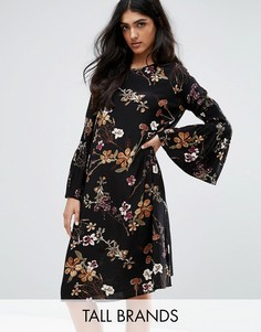 Y.A.S Tall Canto Floral Printed Dress With Bell Sleeve - Мульти