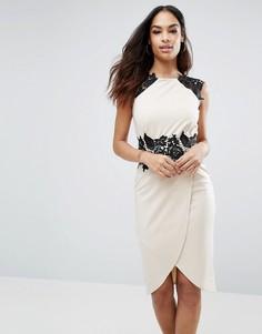 Платье миди с кружевной вставкой и запахом спереди Little Mistress - Бежевый