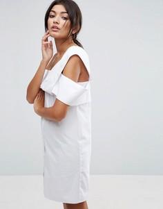 Белое платье на одно плечо из хлопкового поплина ASOS - Белый