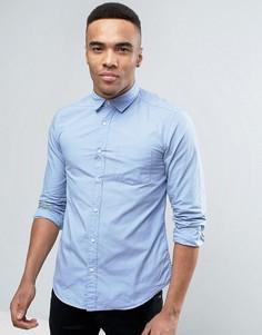 Голубая рубашка слим на пуговицах Esprit - Синий