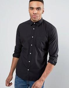 Черная рубашка слим на пуговицах Esprit - Черный