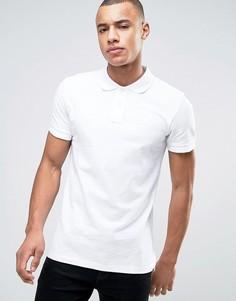 Белая узкая футболка-поло из пике Esprit - Белый