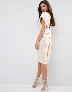 Платье миди с открытыми плечами и бантом сзади ASOS Premium - Кремовый
