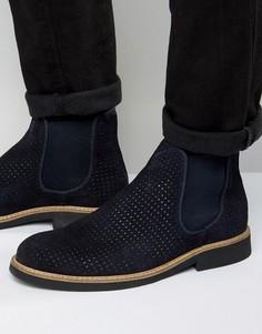 Замшевые ботинки челси с перфорацией Selected Homme Noah - Темно-синий