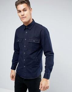 Джинсовая рубашка навыпуск классического кроя Esprit - Темно-синий