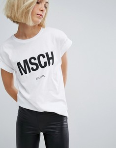Футболка бойфренда с принтом логотипа Moss Copenhagen - Белый