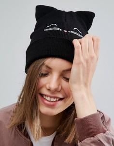 Шапка-бини с вышивкой в виде кошки ASOS - Черный