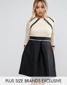 Кружевное приталенное платье с контрастной юбкой 2 в 1 Little Mistress Plus - Мульти