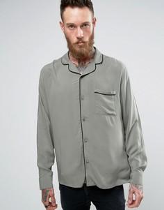 Рубашка с отложным воротником и окантовкой Brooklyn Supply Co - Зеленый