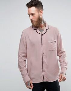 Рубашка с отложным воротником и окантовкой Brooklyn Supply Co - Бежевый