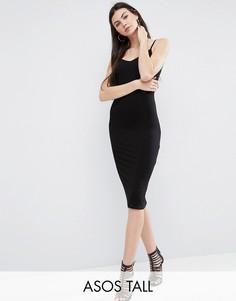 Облегающее платье миди на бретельках ASOS TALL - Черный