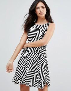 Короткое приталенное платье с графическим принтом Zibi London - Мульти