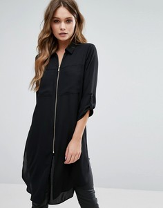 Длинная рубашка на молнии New Look - Черный