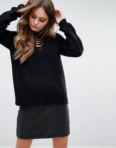 Джемпер со шнуровкой спереди New Look - Черный