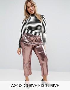 Укороченные брюки плиссе с эффектом металлик ASOS CURVE - Розовый