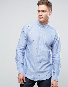 Рубашка классического кроя на пуговицах с вышивкой Tommy Hilfiger - Синий