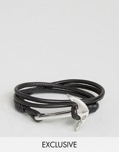 Черный кожаный браслет с якорем Seven London эксклюзивно для ASOS - Черный