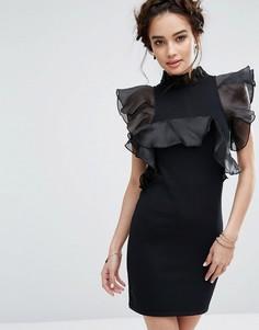 Платье мини с крупными оборками Endless Rose - Черный
