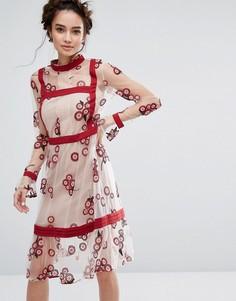 Платье с цветочной вышивкой Endless Rose - Мульти
