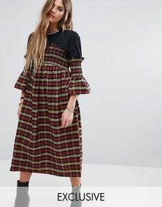 Платье миди с присборенной отделкой Reclaimed Vintage - Красный
