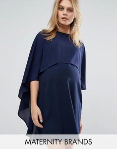 Шифоновое цельнокройное платье с каскадной драпировкой на кейпе Queen Bee - Темно-синий