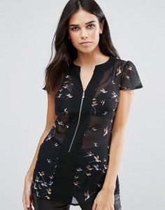 Прозрачная блузка с принтом птичек Pussycat London - Черный