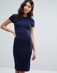 Облегающее платье миди с плиссировкой спереди Club L Office - Темно-синий