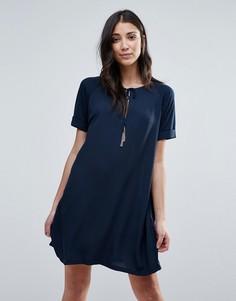 Платье с короткими рукавами и завязками First & I - Синий