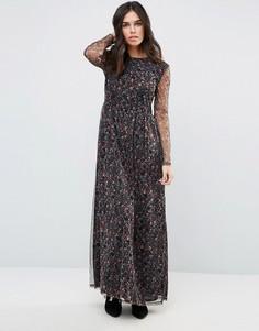 Платье макси с длинными рукавами First & I - Черный