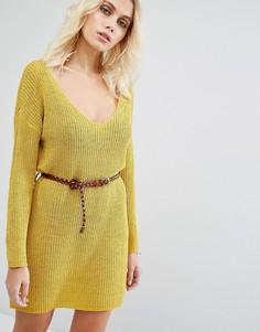 Вязаное платье-джемпер с ремнем Goldie No Other Way - Желтый