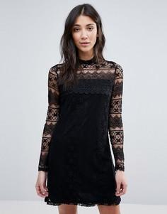 Платье с высокой горловиной и длинными рукавами Vila - Черный