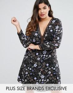 Короткое платье с цветочным принтом Boohoo Plus - Мульти