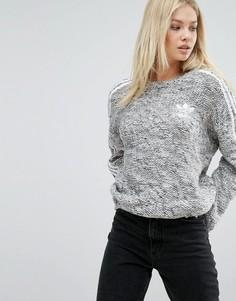Джемпер крупной вязки с тремя полосками adidas Originals - Серый
