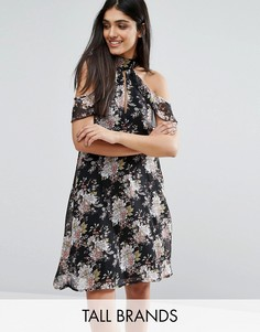 Influence Tall Dress With Ruffles - Черный