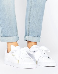 Puma Basket Heart Trainers In Patent White - Белый