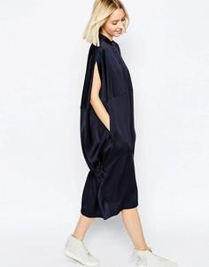 Oversize платье-рубашка с накидкой сзади ASOS WHITE - Темно-синий
