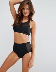 Paperdolls Mesh Floral Detail Halter Bikini Set - Черный