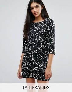 Цельнокройное платье с абстрактным принтом Vero Moda Tall - Черный