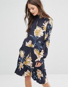 Платье с цветочным принтом Gestuz - Темно-синий