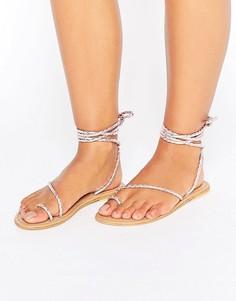Кожаные сандалии на шнуровке ASOS FIRE FLY - Розовый