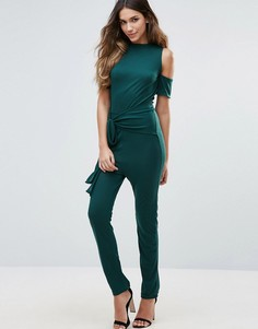 Unique 21 Cold Shoulder Tie Waist Jumpsuit - Зеленый