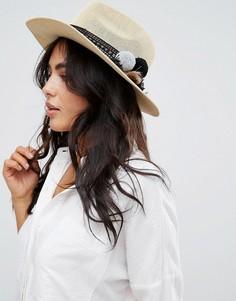 Соломенная шляпа с помпонами ASOS - Бежевый
