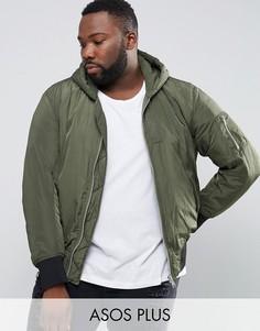 Куртка-пилот цвета хаки с капюшоном и карманом ASOS PLUS MA1 - Зеленый