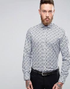 Узкая рубашка с принтом Alexandre - Синий