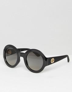 Круглые солнцезащитные очки с логотипом на дужках Gucci - Черный